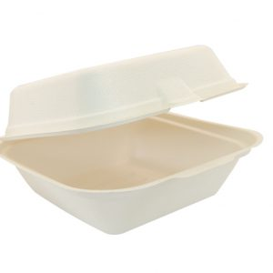 Bagasse Square Clamshell Food Container