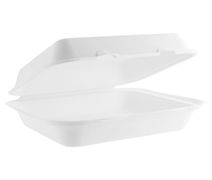 Bagasse 9×6″ Rectangular Clamshell Lidded Takeaway Container
