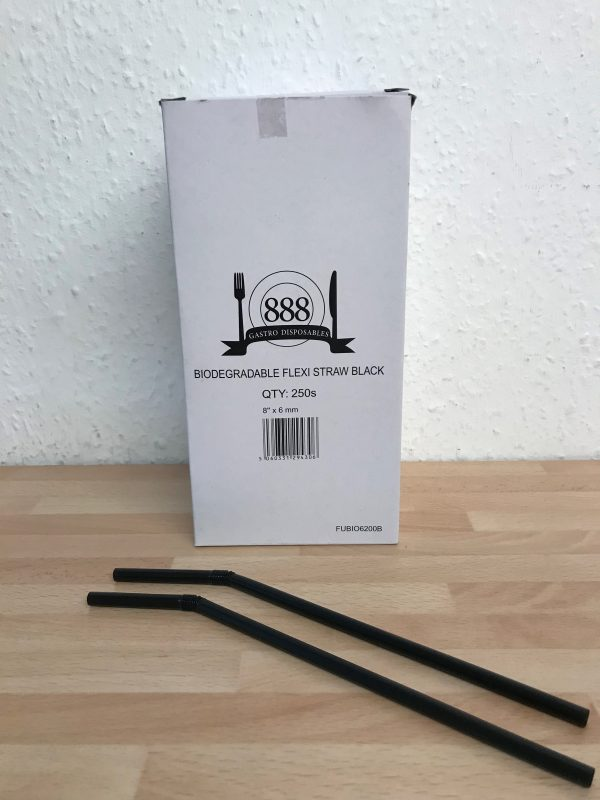 Black Flexible Straw Biodegradable 200mm/8""