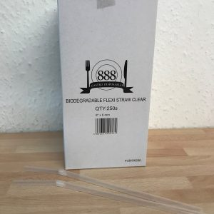 "Clear Flexible Straw Biodegradable 200mm/8"" (Box 250) 6mm Bore"