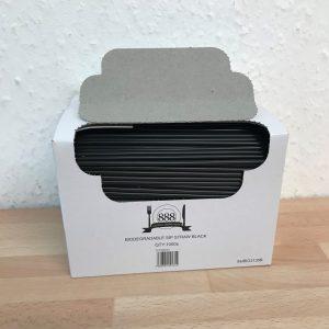 Black Sip Straws Biodegradable 3mm Bore