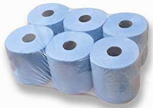 Blue Centrefeed 2 Ply Paper 150 Meter Rolls 150m Rolls