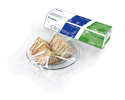 Catering PVC Cling Film In A Rigid Wedge Cutter Box 45cm x 300 metres