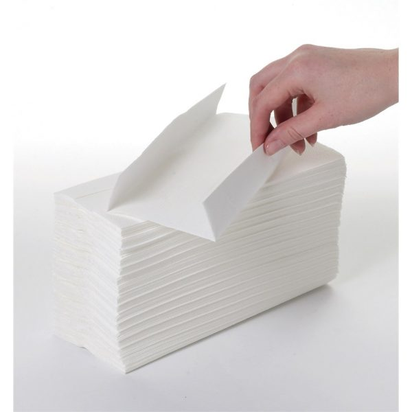 2400 x WHITE 2 PLY C-FOLD PAPER HAND TOWELS MULTI FOLD