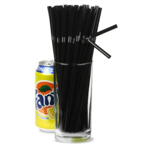 Bendy Straws 8inch Black Plastic Drinking Straws