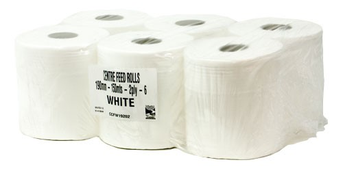 White 2 ply Centrefeed Rolls Embossed Wipes
