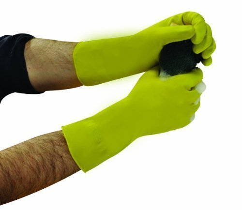 Household Rubber Gloves Medium Weight Flock Lined
