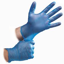 BLUE VINYL POWDERED GLOVES