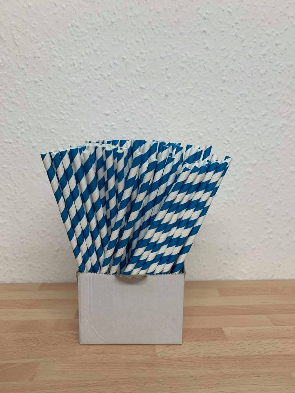 Blue paper straw
